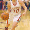 WARREN DILLAWAY / Star Beacon<br /> SARAH DEPP of Geneva dribbles the ball  on Thursday night during Division II District Semi-final action at Pymatuning Valley.