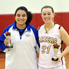 WARREN DILLAWAY / Star Beacon<br /> TAYLOR BLAND (left) of Madison and Geena Gabriel of Pymatuning  Valley were named most valuable  players following the Star Beacon-Ed Batanian Senior Classic at Jefferson High School.
