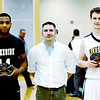 WARREN DILLAWAY / Star Beacon<br /> EMONTE PARKS (left) of Lakeside and Adam Hockman (right) of Riverside were presented the Play-all Sports Player of the Game awards by Star Beacon sports writer Bob Ettinger on Monday during the Star Beacon-Ed Batanian Senior Classic at Lakeside.