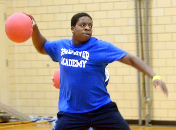 PAT WETERLING of Grand River Academy prepares to throw the ball during a Dodge Ball Tournament at Kent State University-Ashtabula Campus.