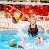 WARREN DILLAWAY / Star Beacon<br /> SABRINA HARTWELL (facing in background), a goalie for the Midwest 10th grade and under Olympic Development Water Polo team, waits to make a save on Saturday at Spire Institute in Harpersfield Township.