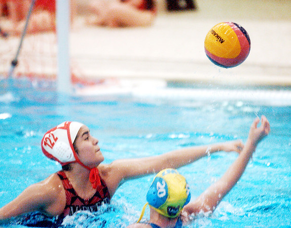 WARREN DILLLAWAY / Star Beacon<br /> WATER POLO players in the 8th grade and under division battle for the ball during Olympic development regional competition at Spire Institute in Harpersfield Township on Saturday. The competition continues today.