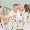 WARREN DILLAWAY / Star Beacon<br /> PYMATUNING VALLEY girls basketball coach Jeff Compan talks to his team during a timeout on Saturday during a Division III championship game at Ravenna.