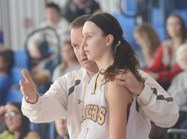 WARREN DILLAWAY / Star Beacon<br /> PYMATUNING VALLEY girls basketball coach Jeff Compan instructs Abby Hamilton on Saturday during a Division III championship game at Ravenna.