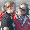 WARREN DILLAWAY / Star Beacon<br /> ELESHIA PITCHER, Geneva softball coach, talks with Tayler Stolz during a break in the action of a scrimmage at Jefferson.