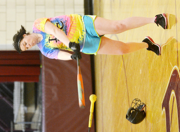 WARREN DILLAWAY / Star Beacon<br /> JACKIE GALE uses a hit stick to increase her hitting prowess during a Pymatuning Valley softball practice on Monday in Andover Township.