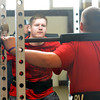 WARREN DILLAWAY / Star Beacon<br /> DILLON HARTE works out in the weight room during a Pymatuning Valley track practice on Monday in Andover Township.