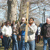 WARREN DILLAWAY / Star Beacon<br /> ED GREATHOUSE (right center) and Bob Hazeltine (center left) carry a large wooden cross during a Good Friday Cross Walk on Elm Avenue in Ashtabula. The event was held to remember Christ carrying the cross on Good Friday.