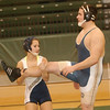 WARREN DILLAWAY / Star Beacon<br /> ALESHA ZAPPITELLA wrestles Conneaut teammate Billy Post during the Star Beacon-Mike Scully Senior Classic Monday evening at Lakeside High School.