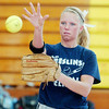 WARREN DILLAWAY / Star Beacon<br /> MERCEDES BURNS works on a throwing drill during Edgewood softball practice on Monday.