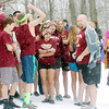 WARREN DILLAWAY / Star Beacon<br /> DAN JACKSON (right with towel on shoulder), Pymatuning Valley High Schol principal, prepares to lead 30 of his students into a frigid Lake Roaming Shore on Saturday during the Ninth Annual Roaming Shores Polar Bear Plunge.