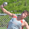 WARREN DILLAWAY / Star Beacon<br /> DALTON COFFEY of Geneva throws the shot put Friday evening during the Jefferson Night Relays.