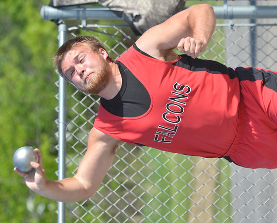 WARREN DILLAWAY / Star Beacon<br /> NATHAN O'CONNOR of Jefferson throws the shot put Friday evening during the Jefferson Night Relays.