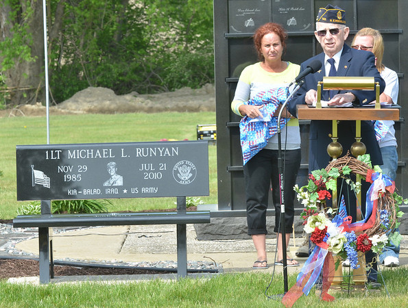 WARREN DILLAWAY / Star Beacon<br /> DEAN E. LUCE, adjutant for the American Legion neal Post #743, announces the dedication of a bench in the name of Lt. Michael L. Runyan who was killed in July of 2010 while serving in the U.S. Army in Iraq.