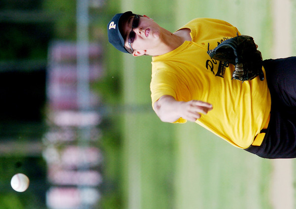 WARREN DILLAWAY / Star Beacon<br /> JACOB HUEY of the Kingsville Junior League team pitches on Saturday during a home game with Ashtabula.