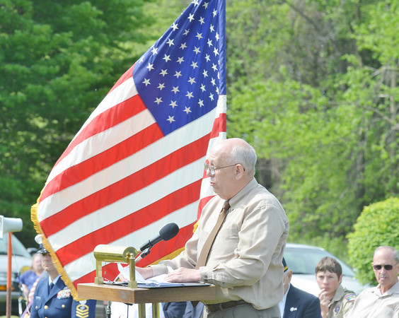 WALTER ROBERTSON spoke on behalf of the Lt. Michael L. Runyan family on Saturday during an Armed Forces Celebration at Greenlawn Memory Gardens. Runyan was killed in July of 2010 while serving in Iraq.