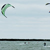 WARREN DILLAWAY / Star Beacon<br /> KITE SURFERS enjoy a brisk wind Friday afternoon in Conneaut Harbor.
