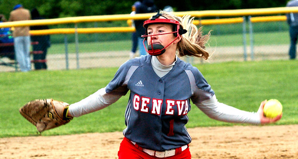 WARREN DILLAWAY / Star Beacon<br /> AMY PITCHER pitches Geneva to victory on Friday during the Division II district championship game against Notre Dame Cathedral Latin at the Jefferson Area Girls sotball camp.