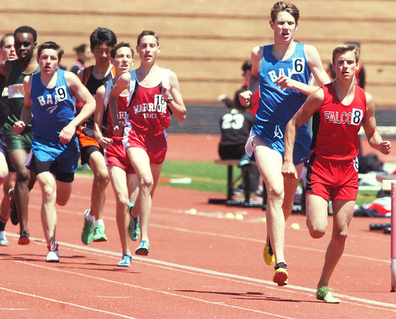WARREN DILLAWAY / Star Beacon<br /> MATT KANTOR (8) of Jefferson ran to a district 1600 meter title on Saturday with a time of 4:34 during the Division II  Perry District B Track Meet. He was one of four Falcon district champions.
