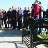 WARREN DILLAWAY / Star Beacon<br /> BRAND NEW bike racks along Bridge Street were one of the many blessings the Ashtabula Liftbridge Association celebrated Saturday morning during a Blessing of the Bridge ceremony. Participants in the ceremony posed for a picture after the blessing.