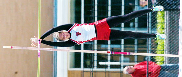 """WARREN DILLAWAY / Star Beacon<br /> KAYLA COOL of Perry finished second in the Division II District Track Meet pole vault competiton on Saturday with a vault of 10'6"""". She earned a trip to the regional meet in Bedford."""
