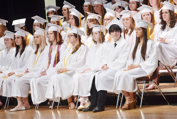WARREN DILLAWAY / Star Beacon<br /> GRADUATES PREPARE to get their diplomas at Pymatuning Valley commencement exercises on Sunday in Andover Township.