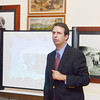 WARREN DILLAWAY / Star Beacon<br /> RICHARD DANA, of the Ashtabula County Bar Association, gives a presentation on Merle M. McCurdy during a Law Day program at the Hubbard House Underground Railroad Museum on Friday afternoon. McCurdy grew up in Conneaut  and went on to be the second black Federal prosector in U.S. history.