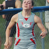 WARREN DILLAWAY / Star Beacon<br /> EMILY DEERING of Geneva runs the 400 meter dash on Wednesday during the Division I  Regional Track Meet at Austintown Fitch. Deering qualified for the Friday final with a time of 59.34.