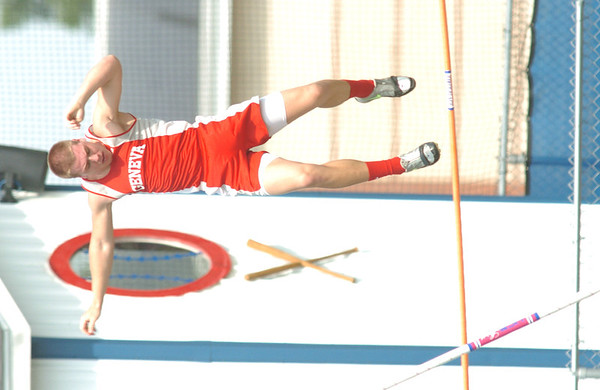 WARREN DILLAWAY / Star Beacon<br /> JOEY JOY of Geneva competes in the Division I Regional pole vault final at Austintown Fitch on Wednesday. Watts did not make the opening height.