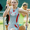 WARREN DILLAWAY / Star Beacon<br /> ALEXIA RUSSELL ran the anchor leg of the Geneva 4 x200 meter relay on Wednesday  at the Division I Regional Track Meet at Austintown Fitch. The relay failed to qualify for the Friday final.
