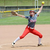 WARREN DILLAWAY / Star Beacon<br /> AMY PITCHER of Geneva pitches on Thursday during a Division II regional semi-final game at Firestone Park in Akron.