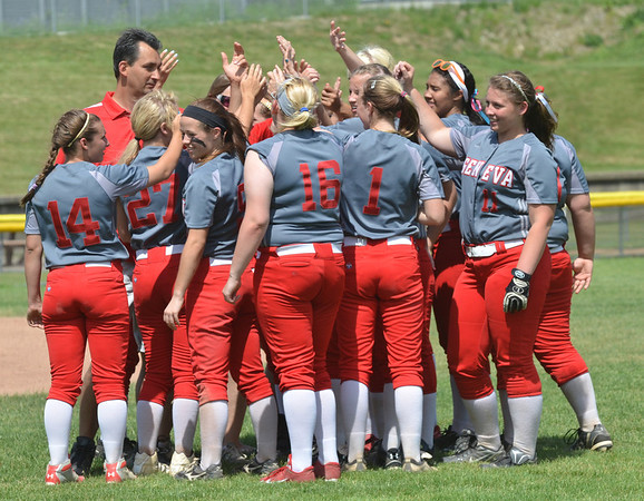 WARREN DILLAWAY / Star Beacon<br /> THE GENEVA girls softball team was all smiles on Thursday afternoon after losing to Walsh Jesuit during the Division II regional semi-final game at Firestone Park in Akron.