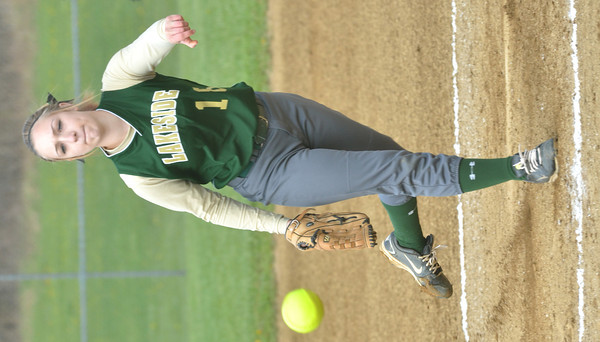 WARREN DILLAWAY / Star Beacon ANDREA DAVIS of Lakeside pitches on Monday during a home game with Geneva.