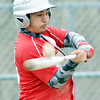 WARREN DILLAWAY / Star Beacon<br /> JOSH SANCHEZ of Geneva makes contact with a pitch on Monday during a game at Lakeside.