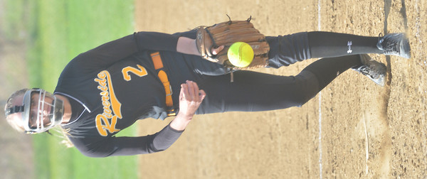 WARREN DILLAWAY / Star Beacon<br /> JEN ROSSMAN of Riverside pitches on Tuesday afternoon during a home game with Madison.