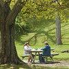 WARREN DILLAWAY / Star Beacon<br /> ARTHER SPEER (right) and his daughter Heather Speer, both of Conneaut, enjoy lunch at Conneaut Township Park Monday.