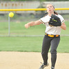 WARREN DILLAWAY / Star Beacon<br /> LEAH GREEN, Riverside second baseman, fires to first on Tuesday during a game at Geneva.