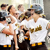 WARREN DILLAWAY / Star Beacon<br /> KAYLA LYNCH of Riverside celebrates after scoring a run on Tuesday during a game at Geneva.
