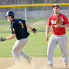 WARREN DILLAWAY / Star Beacon<br /> DREW TORNOW of Riverside (3) turns the base with Ryan Nappi of Geneva watching on Thursday at Geneva.