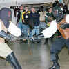 WARREN DILLAWAY / Star Beacon<br /> MIKE BYCKO (left) defends himself from a jab by Nathan Wheatley during a double sword fighting demonstration Saturday at the N.E. Geek Expo at the Ashtabula County Fairgrounds in Jefferson.
