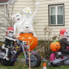 WARREN DILLAWAY / Star Beacon<br /> INFLATABLE HALLOWEEN ornaments greet trick or treaters along Williams Street in Conneaut Saturday evening.