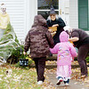 WARREN DILLAWAY / Star Beacon<br /> GABBY SHERBEYN (right) channels her inner Zombie to greet trick or treaters with Joyce Kren (left) on 45th Street in Ashtabula Saturday afternoon with Courtney Smith (left) scaring children as well.