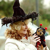 EMMY MAURO and her dog Molly are all dressed up for trunk or treat night Saturday, Nov. 3, 2012, at the North Kingsville, Ohio, village hall. (AP Photo / Warren Dillaway, Ashtabula Star Beacon)