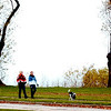 WARREN DILLAWAY / Star Beacon<br /> LISA POLCH (left) of Mesopotamia and Keysha Clough of Conneaut walk Valentine in Lakeview Park in Conneaut Friday afternoon.
