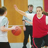 WARREN DILLAWAY / Star Beacon<br /> CORTNEY HUMPHREY of Edgewood defends a Cardinal ball handler during a scrimmage Saturday at Edgewood.