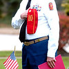 WARREN DILLAWAY / Star Beacon<br /> REV. BOB LEONARD of the Private Henry Kalinowski Marine Corps League pays his respects during a Veteran's Day ceremony at the Ashtabula Veterans Memorial Monday morning.