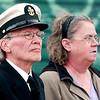 WARREN DILLAWAY / Star Beacon<br /> PAUL AND Deborah Anderson pay their respects during a Veterans Day service Monday morning at the Ashtabula Vetrerans Memorial.
