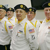 MARGIE NETZEL / Star Beacon<br /> AMERICAN LEGION 103 COLOR GUARD members prepare to perform Monday at the St. John School veterans appreciation ceremony. Members are: (back row, from left) Carl J. DiDonator, Don Otto, Frank Baldwin. (Front row, from left) Hector Martinez, James Batanian, and Al Lendzian.