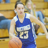 WARREN DILLAWAY / Star Beacon<br /> CASSANDRA GALLO of Grand Valley leads a fast break on Friday night during the Edgewood Preview.