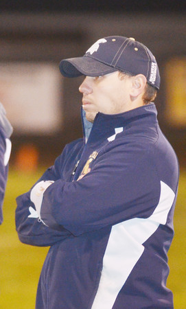 WARREN DILLAWAY / Star Beacon<br /> ROCCO DURBAN, Conneaut football coach,  watches the action on Friday night during a home game with Jefferson.